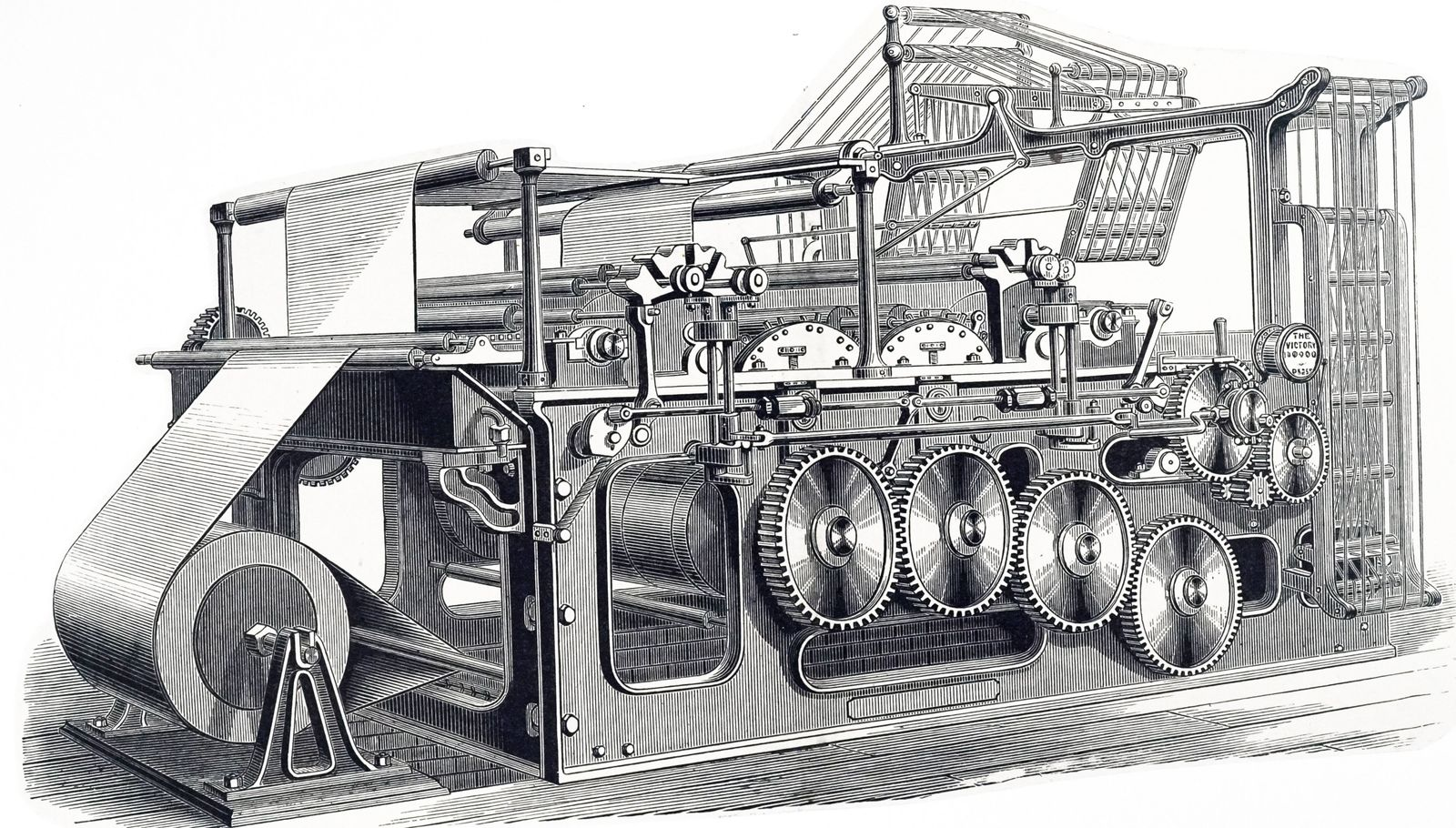 An engraving depicting the Victory web rotary press built by Duncan & Wilson of Liverpool for the G