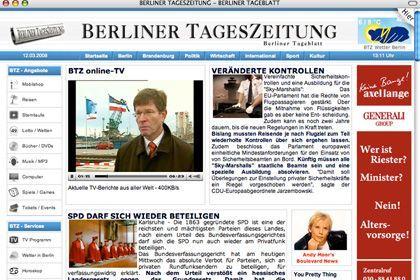 """Screenshot der Homepage der """"Berliner Tageszeitung"""": News für die Haupstadt?"""