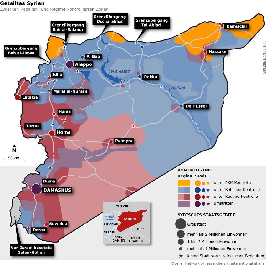 Grafik Karte - Geteiltes Syrien