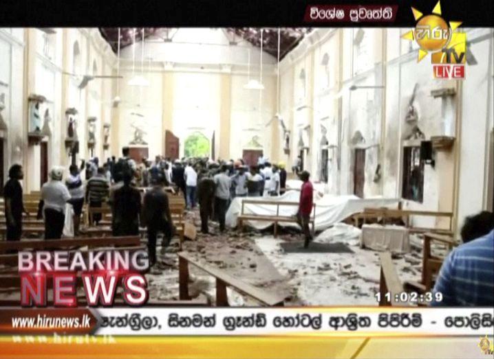 Schäden in einer Kirche in Colombo