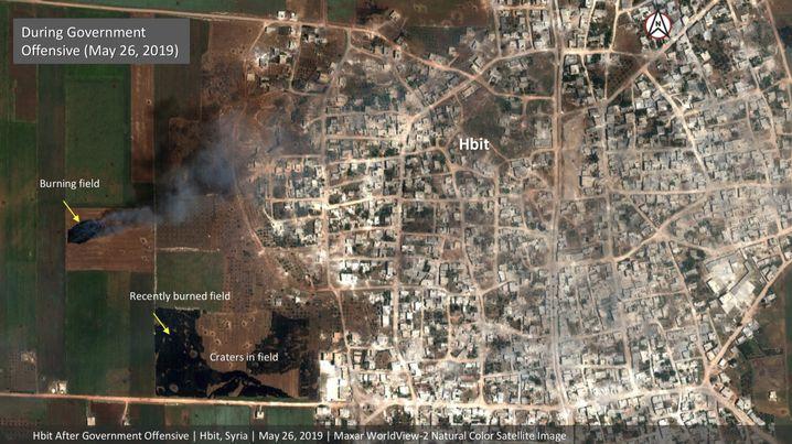 Satellitenaufnahme von brennenden Feldern in Idlib