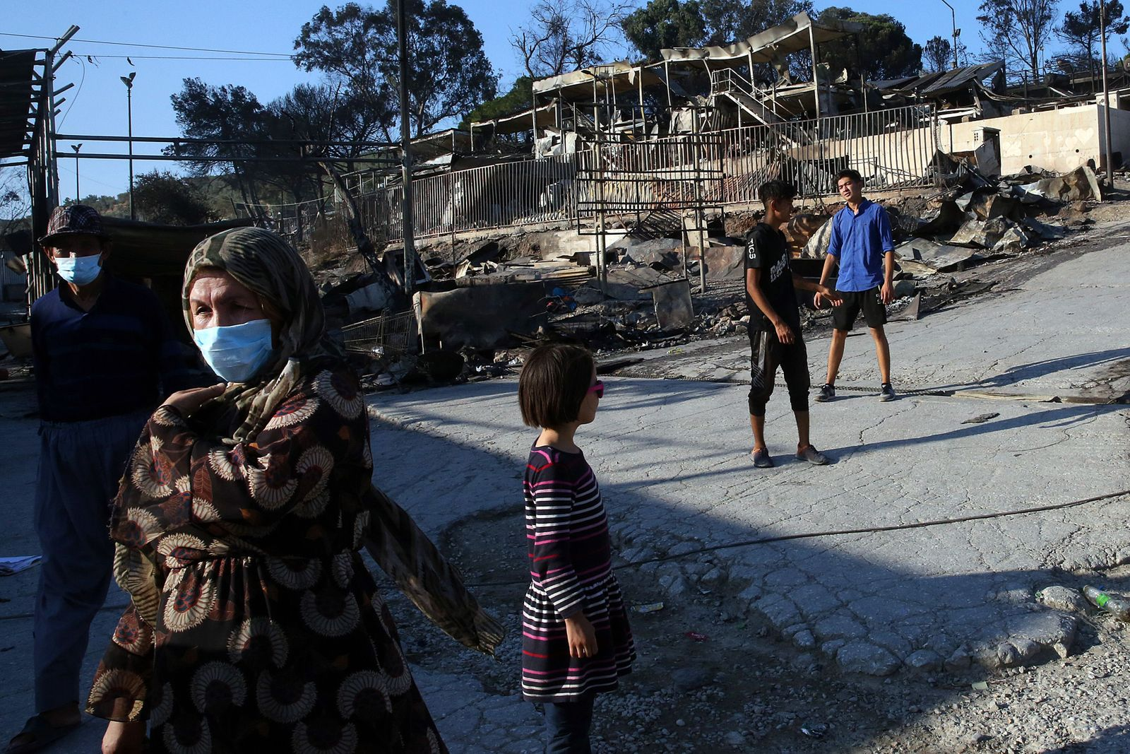 Fire at Moria refugee camp in Greece - 09 Sep 2020
