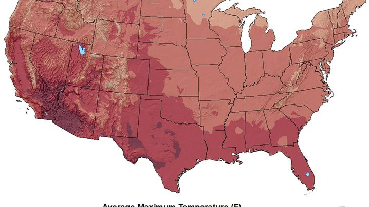 Temperatur in den USA im Jahr 1895 (li.) und 2020 - jeweils im August