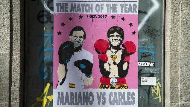 Rajoy vs. Puigdemont: Plakat in Barcelona