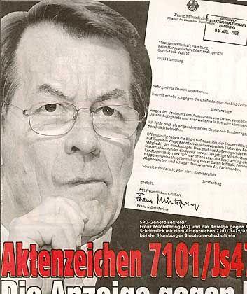 """Franz Münteferings (später zurückgezogene Anzeige) in und gegen """"Bild"""""""