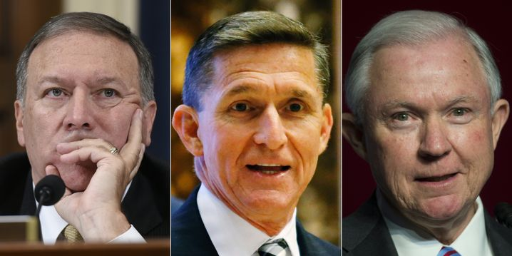 Von links: Mike Pompeo, Michael Flynn, Jeff Sessions