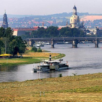 Elbtal in Dresden: Über die Wiese im Vordergrund würde die Waldschlösschenbrücke führen