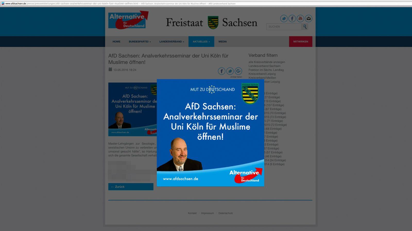 EINMALIGE VERWENDUNG NUR ALS ZITAT Screenshot/ AFD/ Analverkehrsseminar