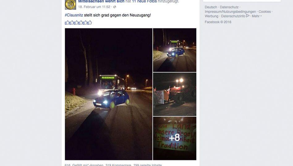 """Screenshot """"Mittelsachsen wehrt sich"""": Zufahrt in Clausnitz blockiert"""