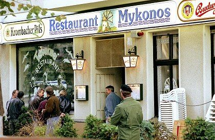 The two released men were convicted in 1997 of involvement in the 1992 murder of four Iranian dissidents in this 'Mykonos' restaurant in Berlin.