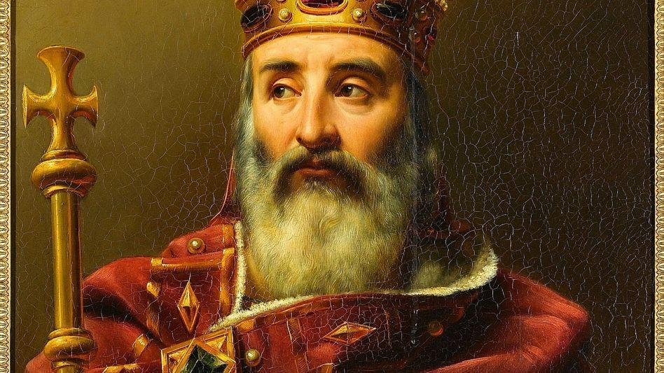 """Monarch Karl (Gemälde aus dem 19. Jahrhundert):""""Bauten oder Ruinen geplündert"""""""