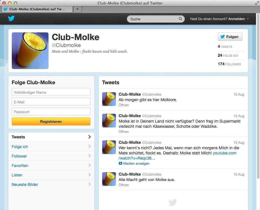 NUR ALS ZITAT Screenshot Club-Molke / Twitter
