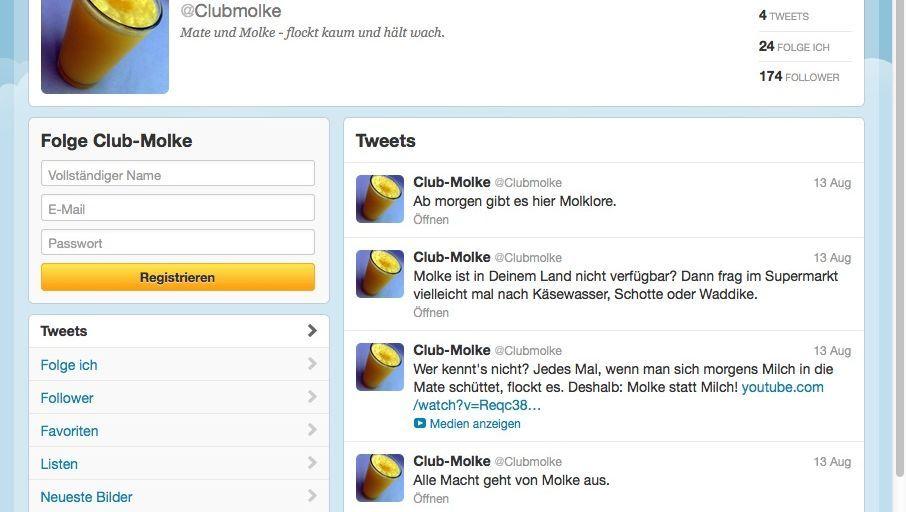 Twitter-Channel von Club-Molke: Nicht einmal 200 Follower sind uns geblieben
