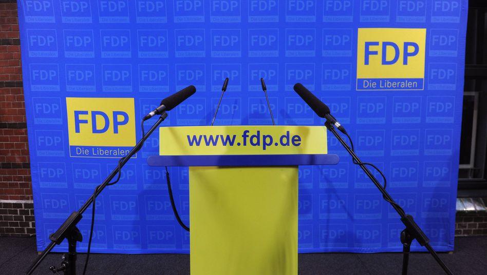 Rednerpult auf FDP-Pressekonferenz (Mitte Dezember): Tausende Parteimitglieder weniger