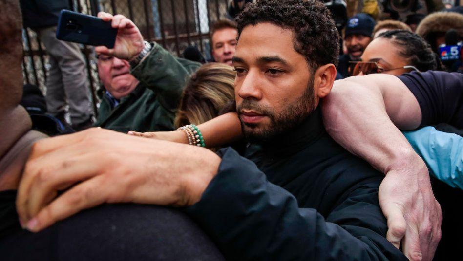 Jussie Smollett nach seiner vorübergehenden Verhaftung