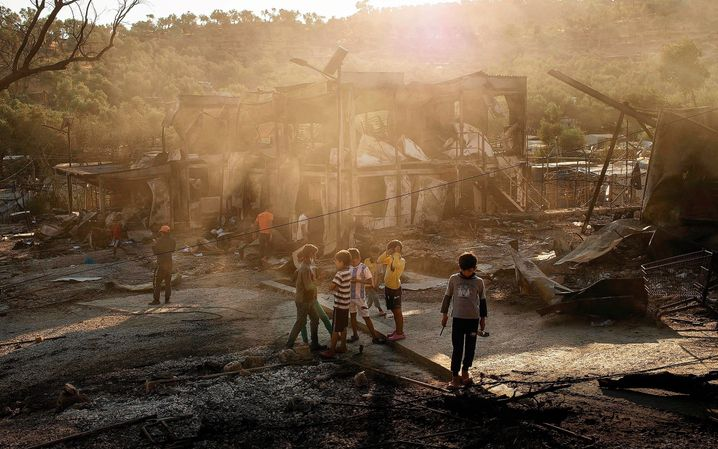 The Moria refugee camp following the fire