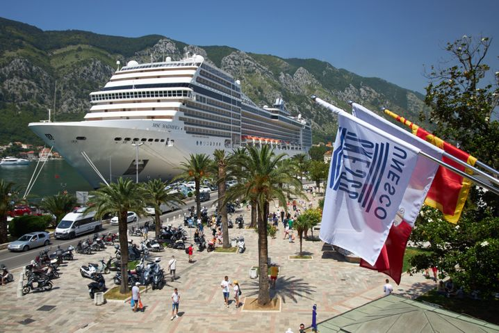 Up to five cruise ships used to dock every day in Kotor. Now it's only an average of two.