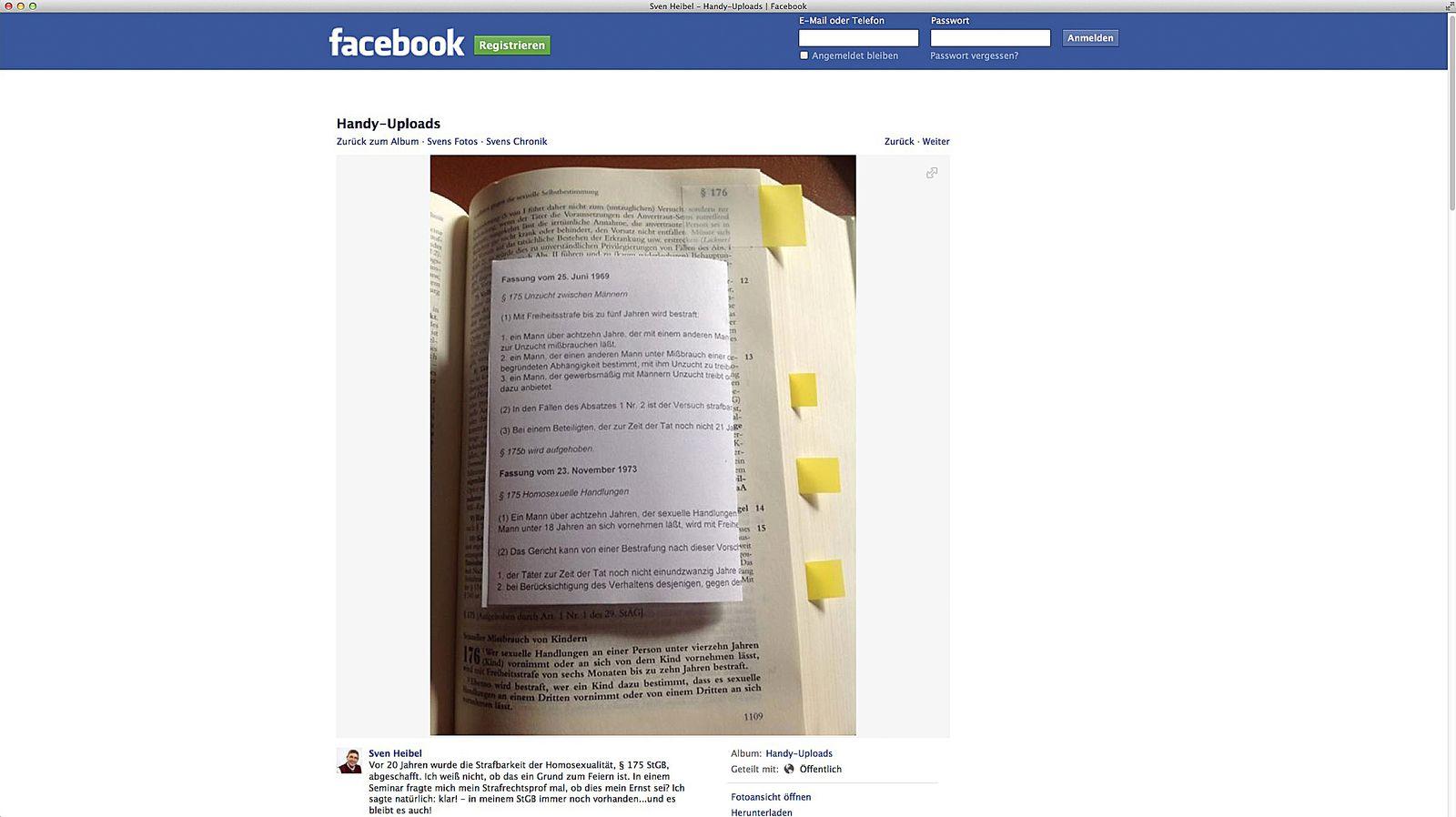 EINMALIGE VERWENDUNG NUR ALS ZITAT Screenshot/ Sven Heibel/ Facebook