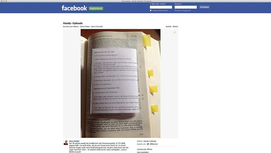 Facebook-Post von Heibel: Mit einem Zettel ergänzte der Ortsbürgermeister von Herschbach das Strafgesetzbuch um den abgeschafften Paragrafen 175