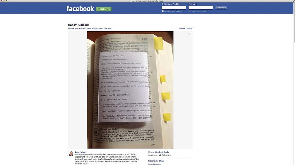 Facebook-Post von Heibel: Mit einem Zettel ergänzt der Ortsbürgermeister von Herschbach das Strafgesetzbuch um den abgeschafften Paragrafen 175