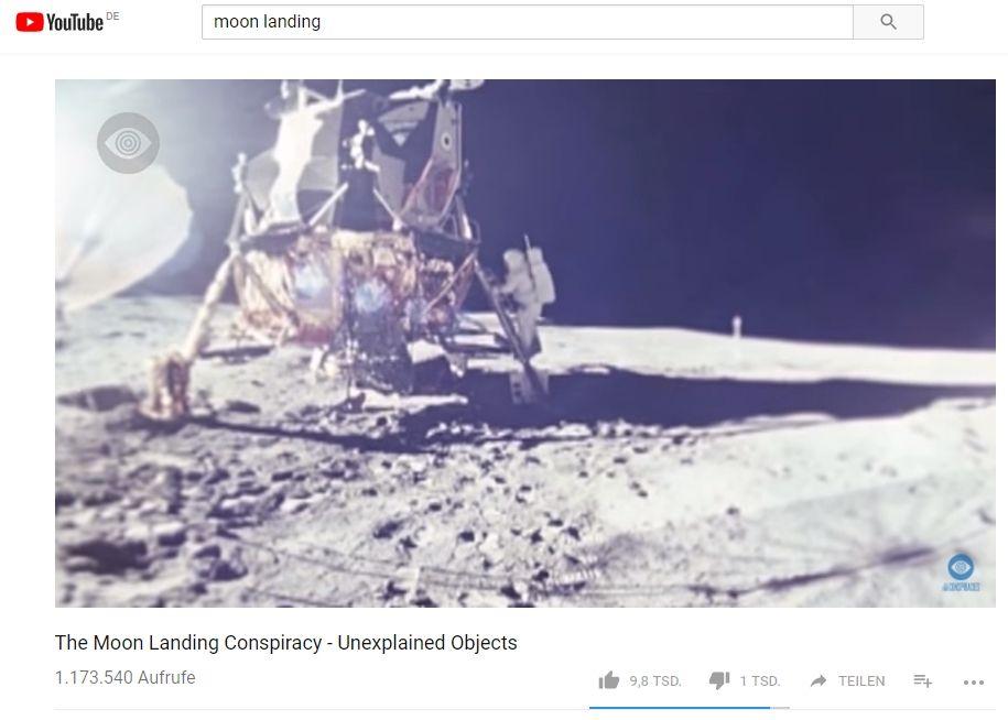 NUR ALS ZITAT Screenshot YouTube/ Verschwörungstheorien/ Mondlandung