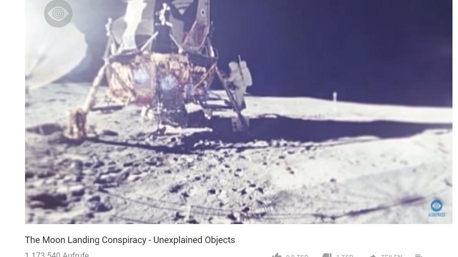 Screenshot aus dem Video eines Verschwörungstheoretikers zur Mondlandung