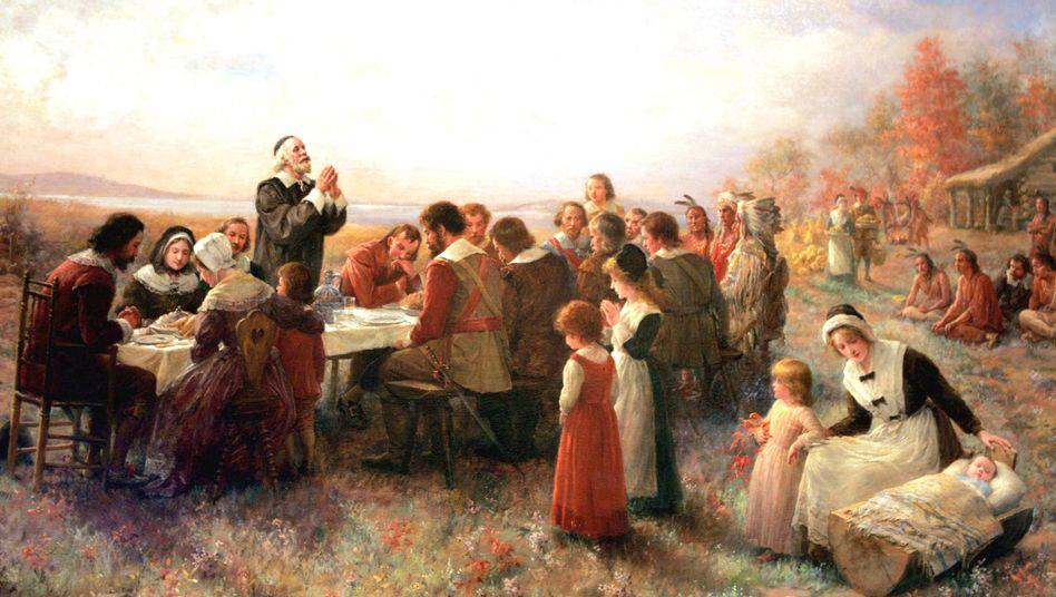 "Brownscombe-Gemälde ""The First Thanksgiving at Plymouth"": Krude Tea-Party-Thesen"