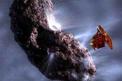 """Deep Impact"" (Nasa-Grafik): Mit 37.000 Stundenkilometern soll das Projektil in den Planeten krachen"