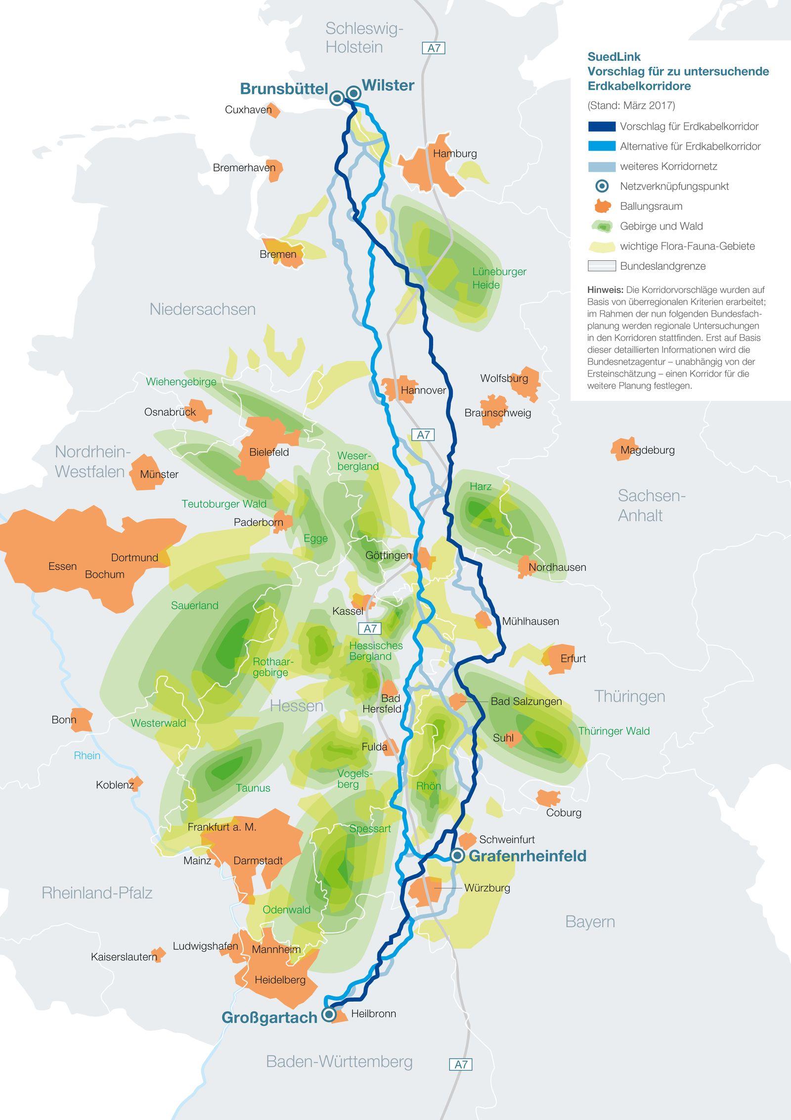 EINMALIGE VERWENDUNG Karte / SuedLink-Vorschlagstrasse / Alternatve Korridornetz