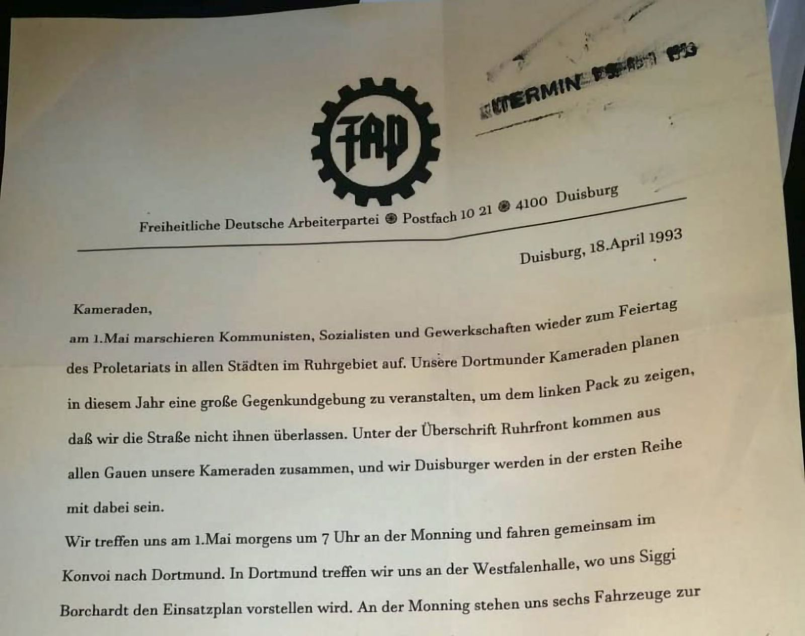 EINMALIGE VERWENDUNG FAP-Papier