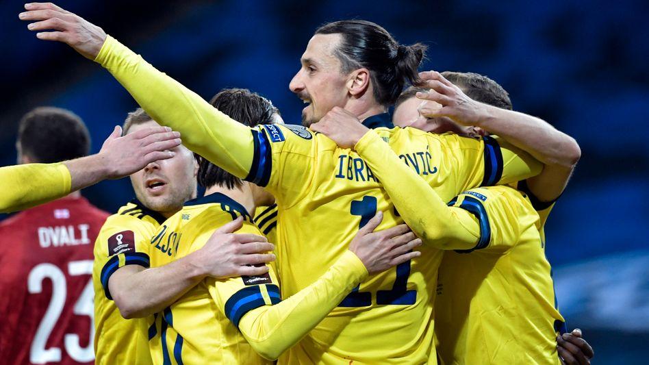 Ibrahimovic nach dem 1:0 für Schweden, das er vorbereitet hatte