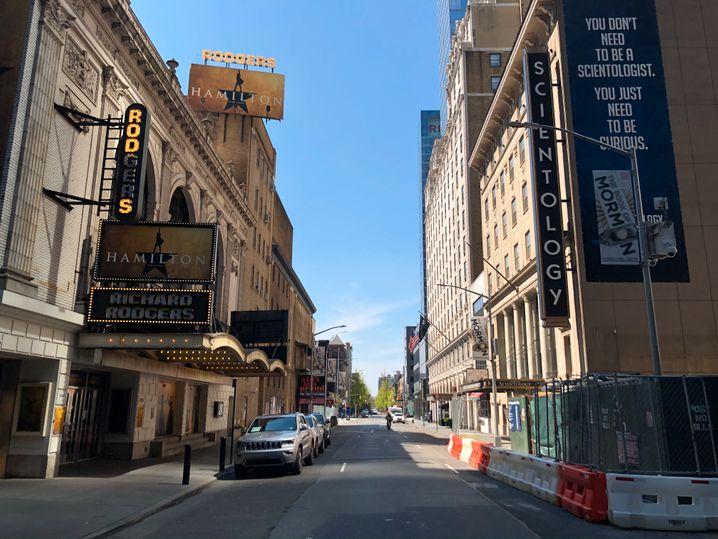 "Leere 46th Street: Hier spielt sonst das Hip-Hop-Musical ""Hamilton"""