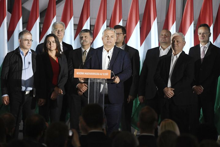 Viktor Orbán nach der Wahl in Budapest