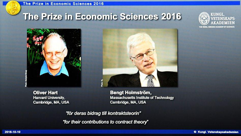 Preisträger Hart und Holmström