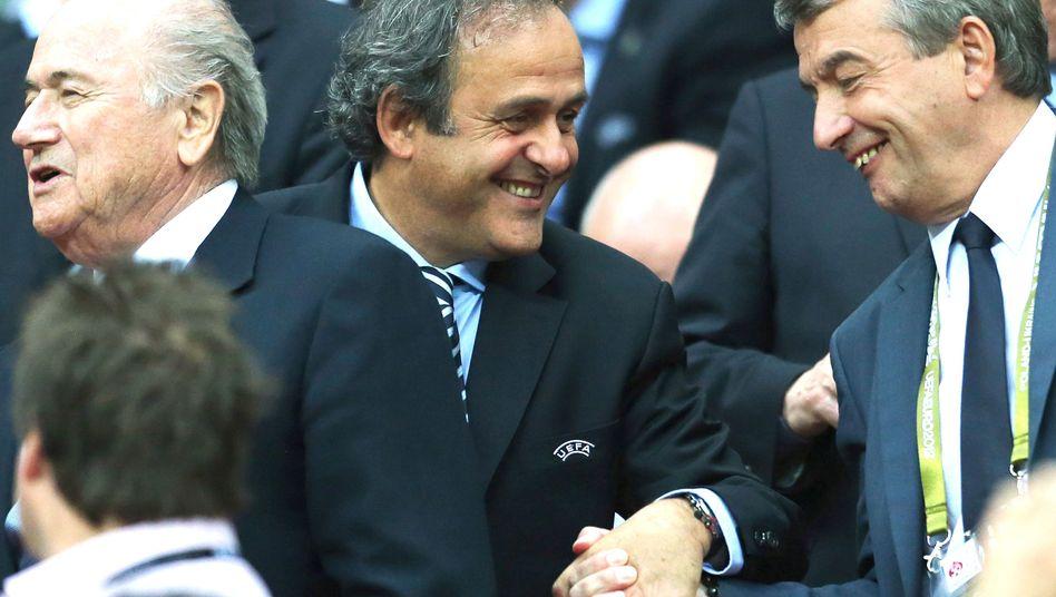 """Uefa-Boss Platini (l.), Niersbach: """"Ich halte ihn für den geeignetsten"""""""