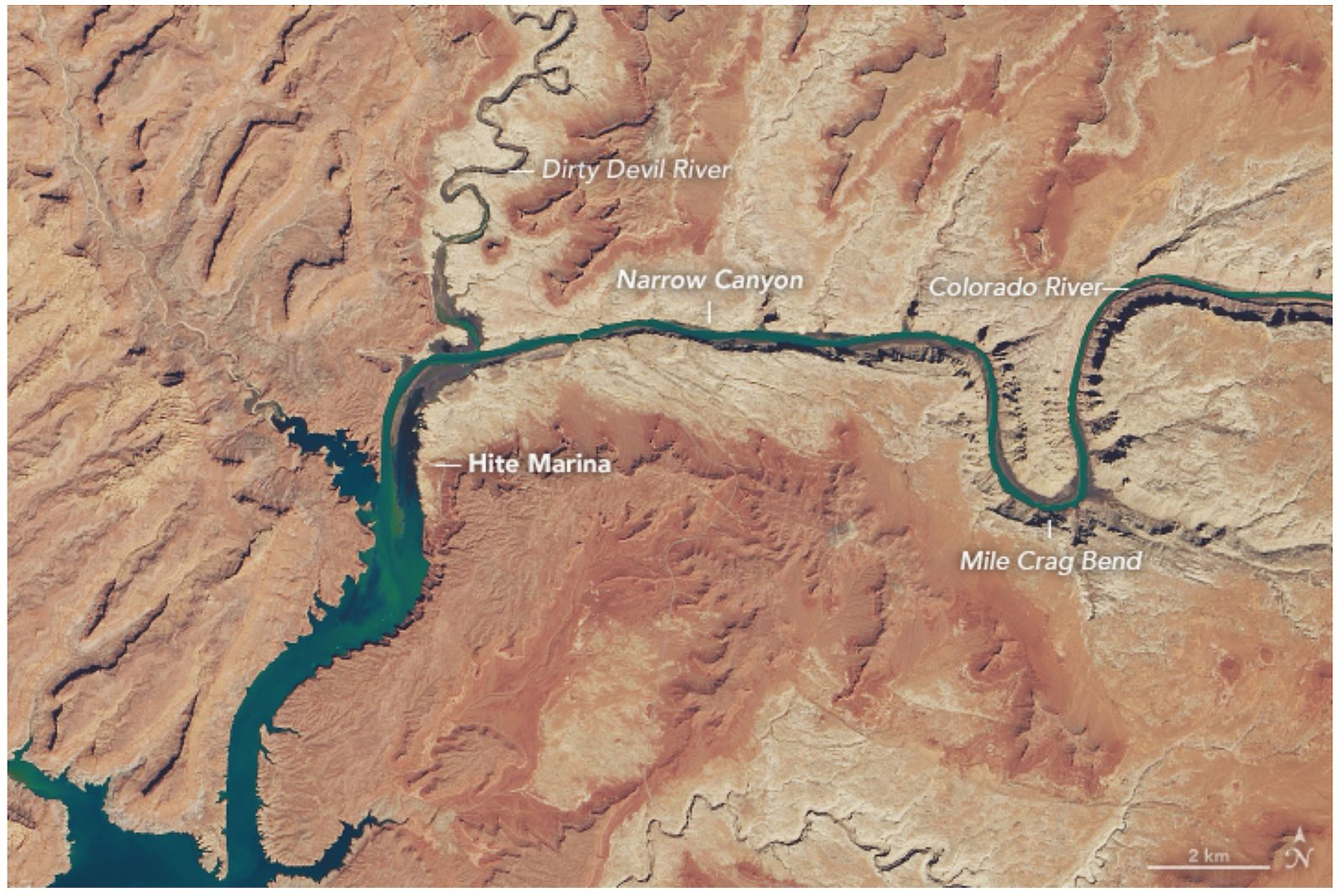 EINMALIGE VERWENDUNG Satellitenbild/ Rocky Mountains/ Lake Powell