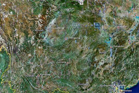 Google-Map von Sichuan: Starkes Erdbeben im Zentrum von China