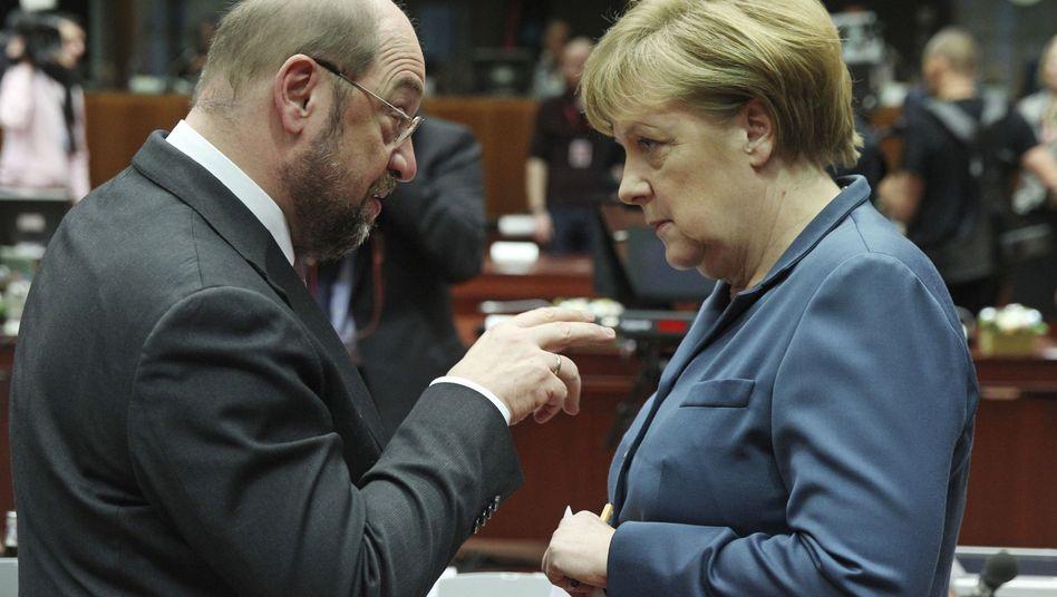 Martin Schulz, Angela Merkel (Archivbild von 2013)