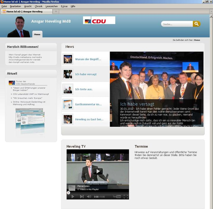 "Gehackte Heveling-Homepage (Screenshot): ""Ich habe versagt"""