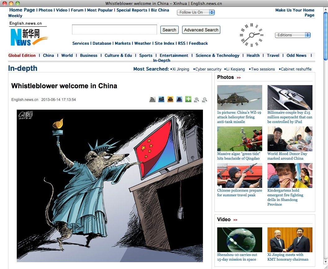 NUR ALS ZITAT Screenshot Whistleblower welcome in China