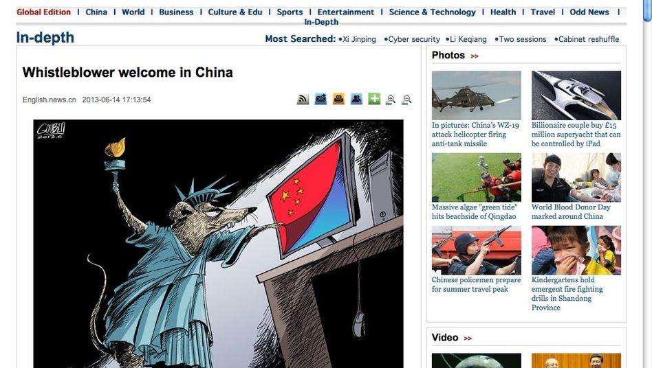 """Xinhua-Karikatur: Freiheitsstatue als Ratte, """"Whistleblower willkommen"""""""