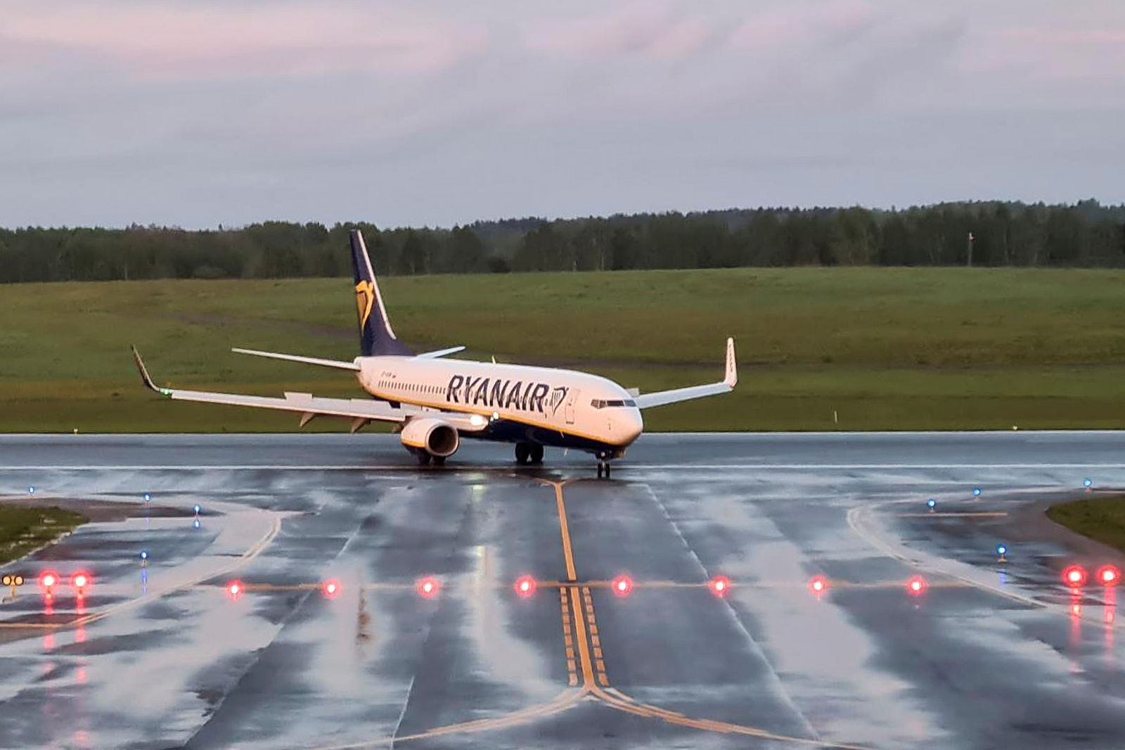 A Ryanair aircraft, which was diverted to Belarus, lands at Vilnius Airport in Vilnius