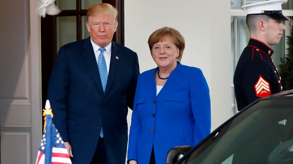US-Präsident Donald Trump, Gast Angela Merkel (2018 in Washington)
