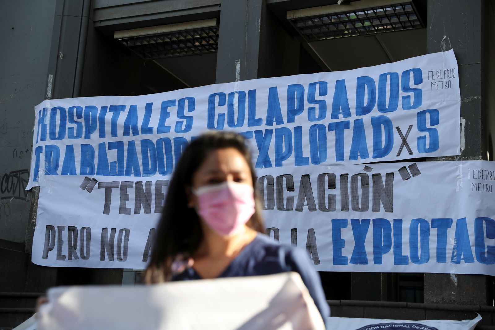 Rally outside a hospital amid COVID-19 pandemic in Santiago