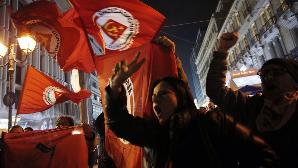Syriza-Unterstützer am Wahlabend (Archiv): Die Korruption hinter sich lassen
