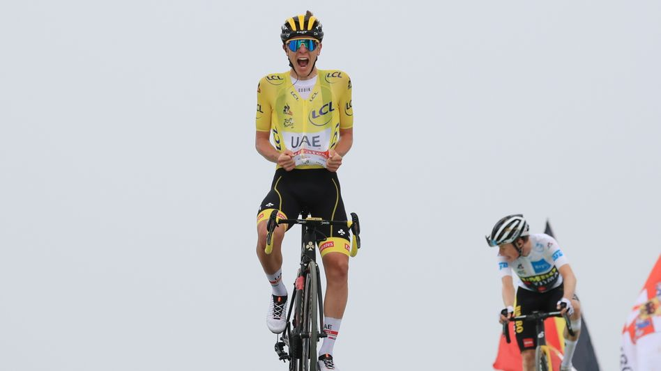 Tadej Pogačar gewann auf dem Col de Portet