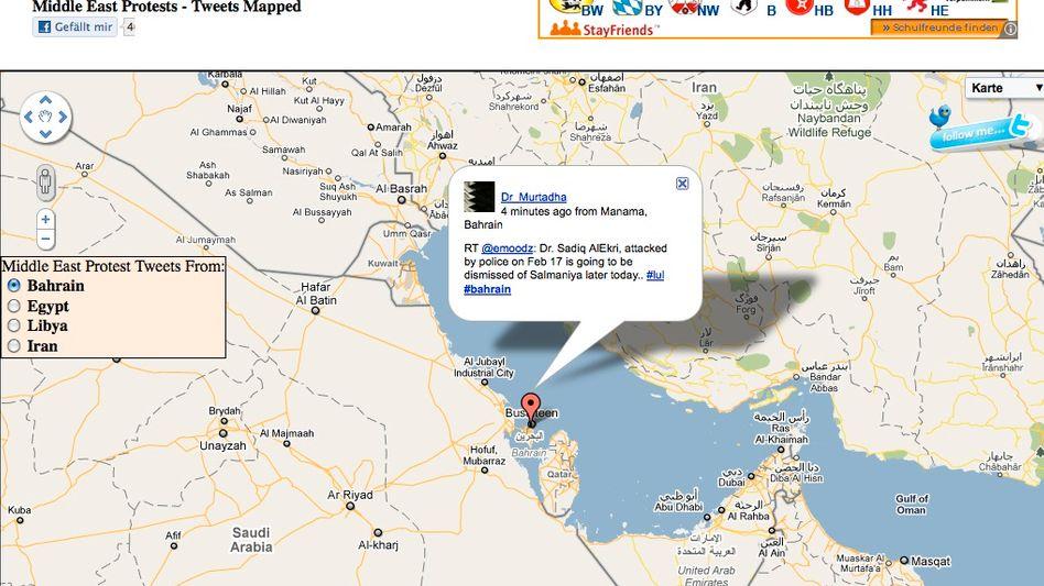 Mibazaar.com: Twitter-Karte mit Protest-Tweets aus der arabischen Welt