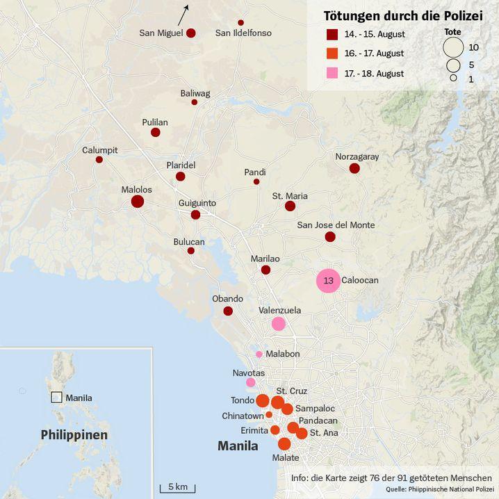 Tötungen in Manila und Umgebung in der vergangenen Woche