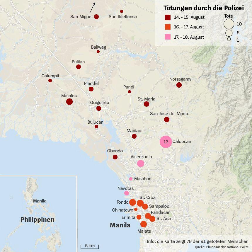 Karte Philippinen Tötungen durch Polizei Manila und Umgebung