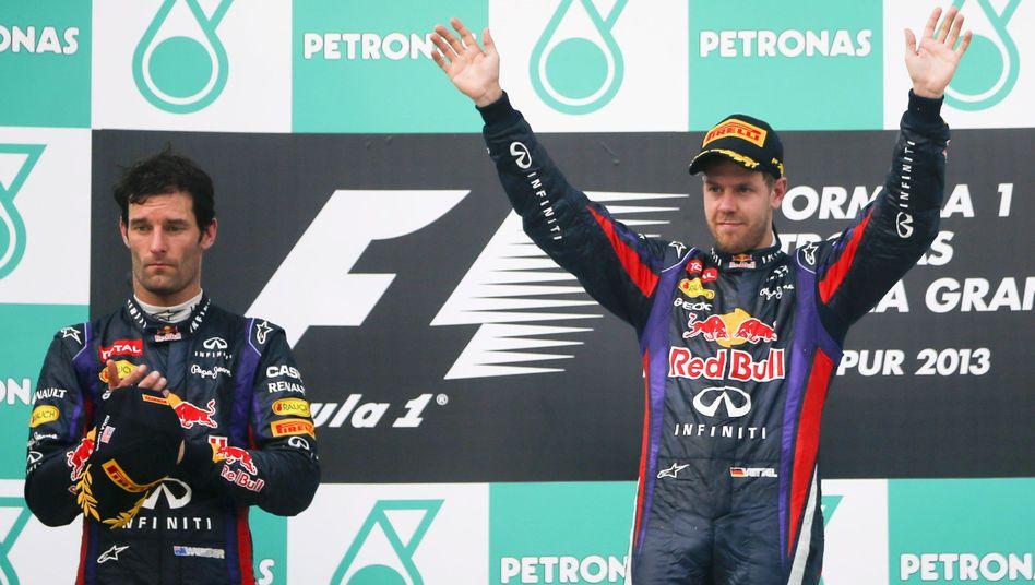 """Weltmeister Vettel (r.), Teamkollege Webber: """"Status als Nummer-eins-Pilot klargemacht"""""""